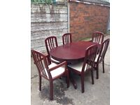 Very good condition mahogany dining table and 6 chairs only £120 good bargain call now