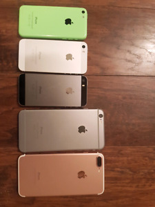 Iphones for sale 7 plus 256gb, 5s 32gb, 5c 8gb