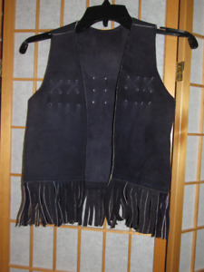 Rare Real Leather Navy Blue 3-5.5 Year CowBoy/Girl Fringe Vest
