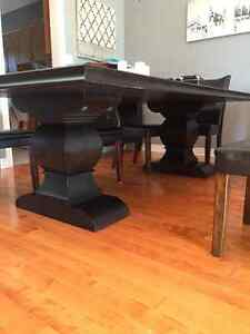 Black Maple Dining Table with 8 Chairs