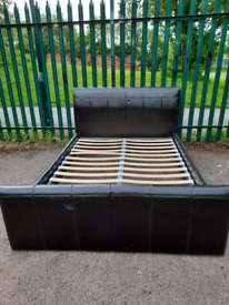 Leather Double bed frame (delivery available