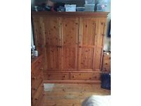 Solid pine bedroom set 'wardrobe, chest of draws , bed side draws
