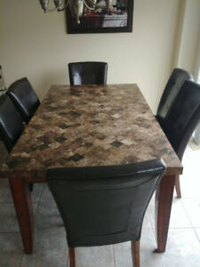 7 pc Real Marble Dining set