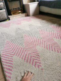 New 160x220cm ivory pink grey rug