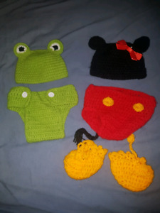 Crochet baby diaper cover and hat