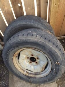 Two tires on rims