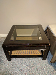 Solid oak glass top coffee table (no glass)