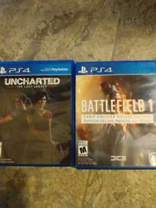 Ps4 games uncharted lost legacy and battlefield 1