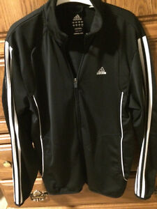 Adidas Size S black zip up with white stripe on sleeves