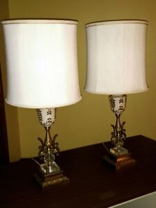 Pair Matching Ornate gold Tri-light Compatible Table Lamps $50