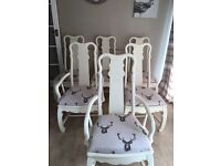 Shabby chic 6 dining room chairs