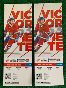 RED WINGS @ HABS - MAR 12 - $105 - CENTRE ICE - FACE VALUE