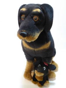 LARGE ROTTWEILER DOG WITH PUPPY STUFFED ANIMALS - EXCEL. COND.