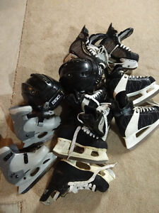 HOCKEY SKATES AND HELMETS