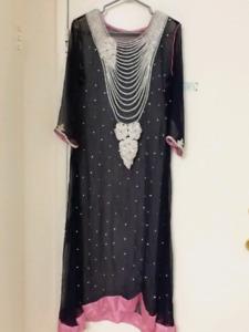 Beautiful party/eid long dress. Stone work Pakistani dress