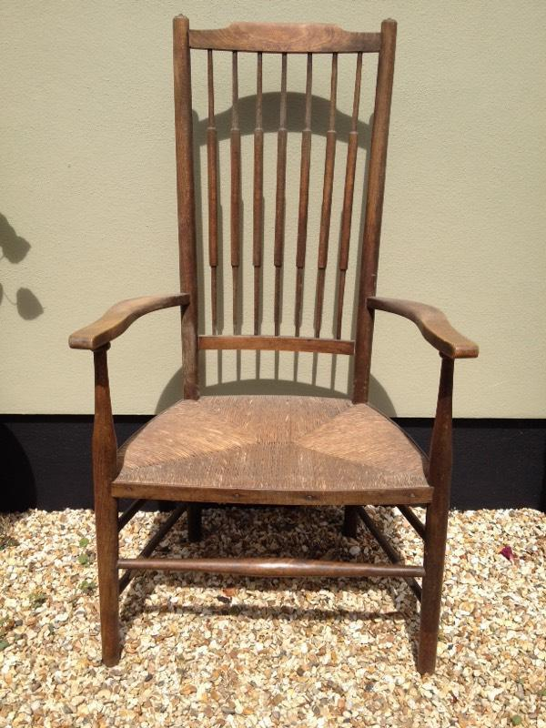 Antique Spindle Back Carver Chair In Blackfield