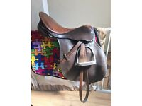 "17"" Brown leather saddle"