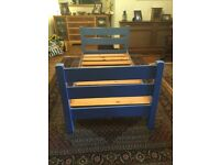 Solid wood 3' single bed, painted blue