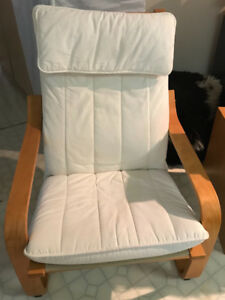 White, comfortable Chair with extension from ikea for sale