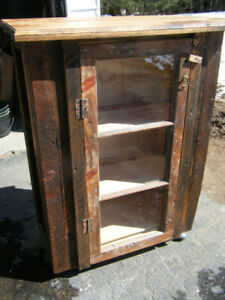 Solid wood small island cabinet on wheels, handmade