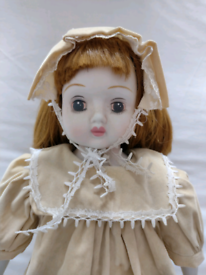 Vintage Musical 14.5 inch Porcelain Doll as original Viewing in garden