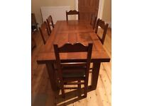 Refectory dining table and chairs