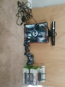 120 gb xbox 360, 3 controllers , xbox kinect, a bunch of games