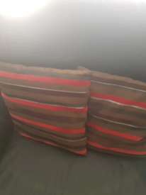 2 Red/Chocolate Brown cushions