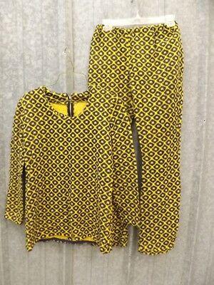 One of a Kind Vtg 60s 70s Groovy Yellow & Black Knit Top & Pants Set Sz S Hippy Kind Knit Pant
