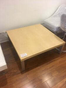 Brand new maple coloured square coffee table