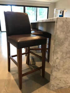 Solid Wood Leather Bar Stools, set of 4