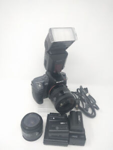 Sony A550 14.2MP DSLR Camera, 2 Lenses, 5 Batteries, and Flash