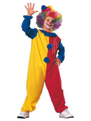 Child Clown Costume Boys Girls Circus Carnival Fancy Dress Outfit + Hat Kids New