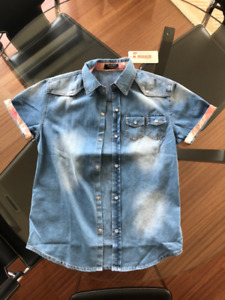 Cool Blue Denim Jeans Shirt - Brand New w Tag - Snap Buttons