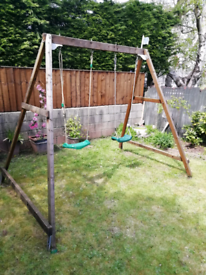 TP wooden double swing with extra exercise bar
