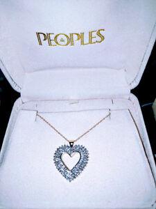 Beautiful Gold Baguette Diamond Open Heart Necklace