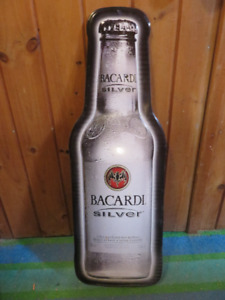 BACARDI SILVER METAL SIGN ONLY REPS GAVE THESE OUT. ASKING $45 O