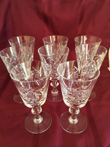 Set of 8 Pinwheel Crystal wine glasses