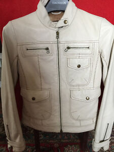 DANIER OFF-WHITE ALL LEATHER WITH FRONT POCKET JACKET