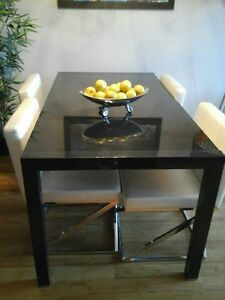 Modern Extendable dinning room table charcoal color,  chairs ext
