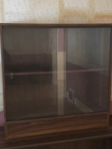 2-Shelf Bookcase with sliding glass doors