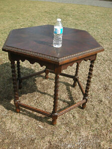 antique oak hexagon  table, 6 sided, barley twist legsSolid cons