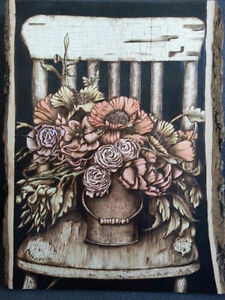 Custom wood burned art