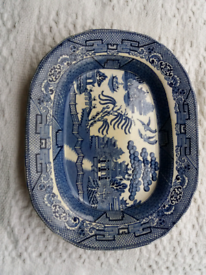 Antique/vintage blue and white small meat platter - W Adam's & Sons