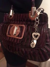 Guess bag faux crocodile leather purple handbag
