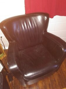 Faux Leather Chairs - Olive Green and Red