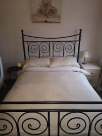Cast Iron Black Bedframe - fits a double mattress