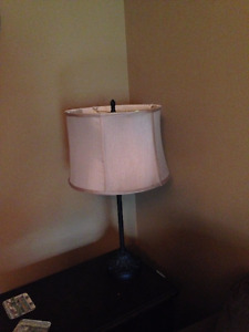 Table lamp with light brown lampshade