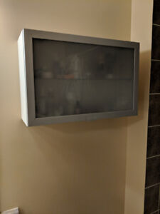 IKEA Bathroom Cabinet with Frosted Glass and Shelving 24x15.5 in