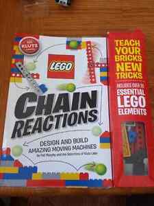 Lego chain reactions book and blocks.